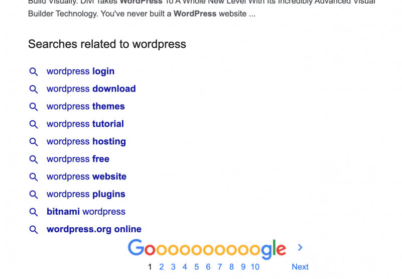 Google Related Searches example