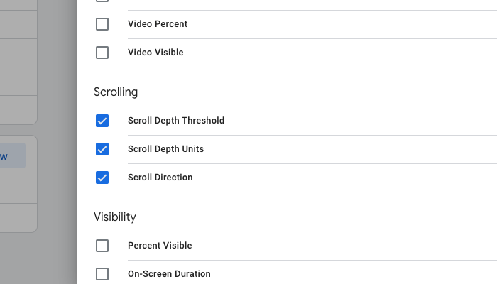 Google Tag Manager Scroll Depth Variables