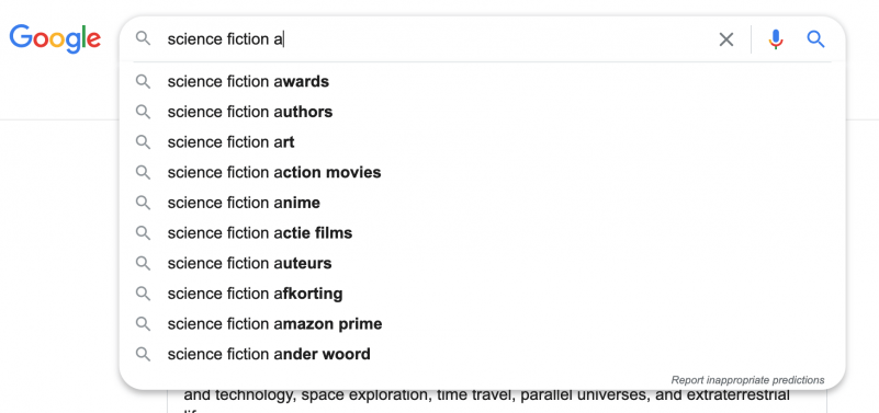 Sience fiction Google Suggestions example 2