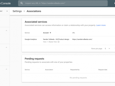 Link google analytics with google search console - GSC screenshot